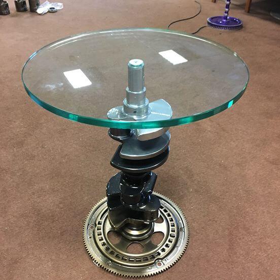 V8 Engine Glass Table: V8 Jaguar Crankshaft Side Table Small.